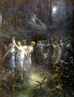 Dore Print Moon Fairies Dancing N Moonlight Enchanted Midsummer Night