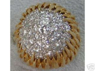 Estate 4TCT Pave Diamond Dome 18K Yellow Gold Ring