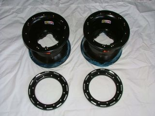 New Douglas G2 Beadlock Rear Wheel Set Yamaha Raptor 700 Black 9 inch