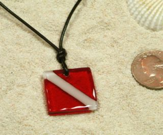 Scuba Diving Gear Jewelry Diver Dive Down Flag Pendant