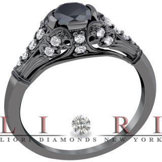 15 Carat Natural Black Diamond Engagement Ring 14k Black Gold