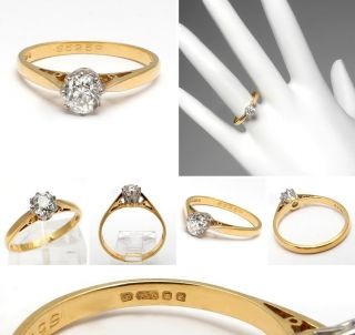 Style Old Mine Cut Diamond Engagement Ring Solid 18K Gold skuwm6795