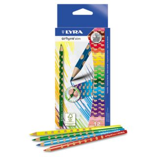 Dixon Groove Slim Colored Pencils, Assorted, 12 per Pack, ST