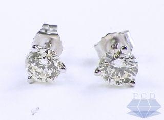 Brilliant H SI1 Diamond Stud Earrings 14kt White Gold Studs