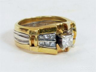 Stunning Custom 18K Princess Cut Diamond 15 Gram Gold Solitaire