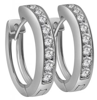 New Round Cut Diamond 1 10 CTW Channel Set 14kt White Gold Hoop Huggie