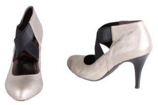 DKNYC Teela Womens Light Gold Leather Suede High Heels Medium Width