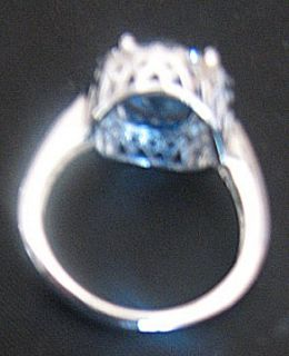 925, CAA, CANADA, CZ BLUE RING (PRINCESS DIANA INSPIRED) sz 9