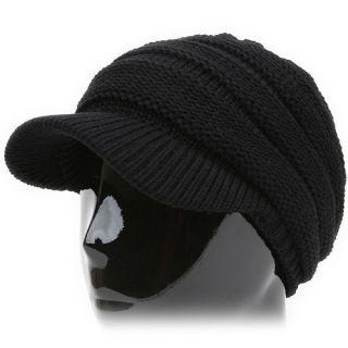Rasta DNP Black Knit Cap Hat Newsboy Skull Beanie Visor