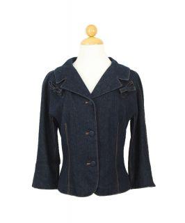 Diane Von Furstenberg DVF Classic Blue Denim Jeans Blazer Jacket Size