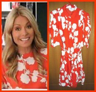 398 Diane Von Furstenberg Karin Halo Buds Red Silk Shirt Dress 6 Sold