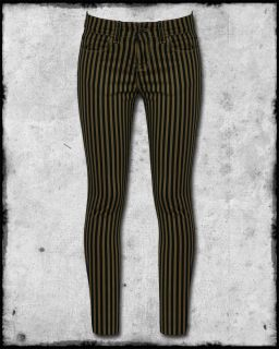 Spin Doctor Black Brown Striped Gatsby Steampunk Vtg Skinny Fit Jeans