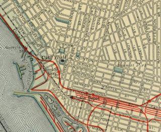 Buffalo NY Street Map Authentic 1907 (Dated) Landmarks, Stations