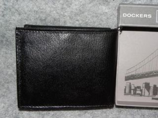 New Dockers Mens Genuine Black Leather Passcase Wallet