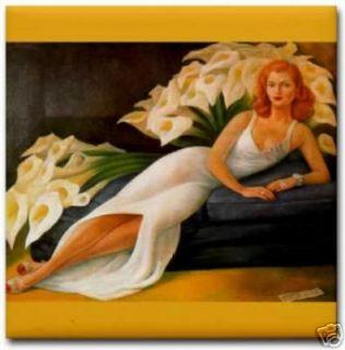 Diego Rivera Cala Lilies Natasha Ceramic Art Tile