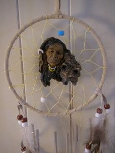 Native American Indian & Wolf Dreamcatcher Hanging w Feathers, Chimes
