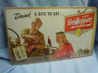 Metal Dr Pepper Drink A Bite to Eat Soldier War Bonds Jeep