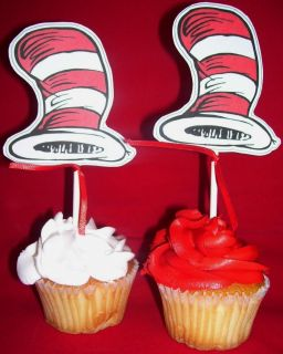 Dr Seuss Cat in The Hat Theme Birthday Party Cupcake Toppers Custom