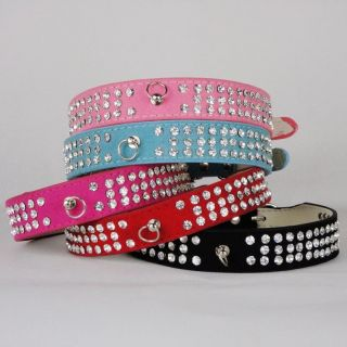 Dog Collar Rhinestone 3 Rows Crystal Leather Soft Suede Collar XS s M
