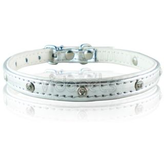 10 silver leather rhinestone dog collar small casual and