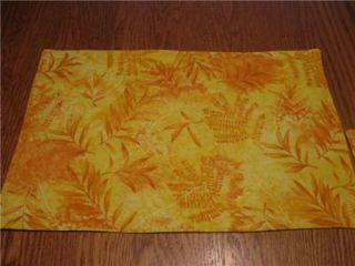 Handmade Set Quilted 4 Placemats Yellow Leaves Summer