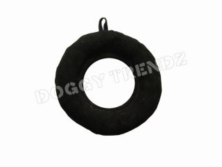 Dog Toy Plush Suede Donut Ring Black Color Soft 9 Eco Friendly for