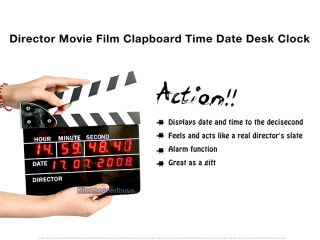 Movie Slate Clapper Board LED Digital Alarm Clock Gift