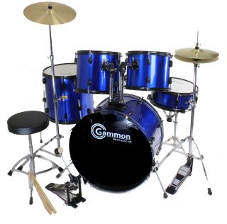 Scratch Dent 5 Piece Drum Set Blue with Cymbals Stands Gammon Demo 2nd
