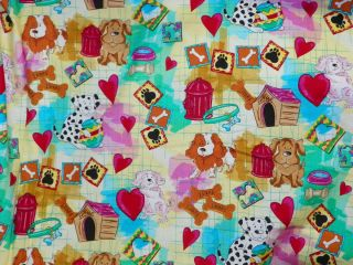 DOGS HEARTS FIRE HYDRANT PAWS BONES DOG THEMED FABRIC 2 YDS B