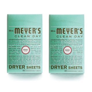 Mrs Meyers Clean Day Dryer Sheets Basil 80 sheets per box 2 pack