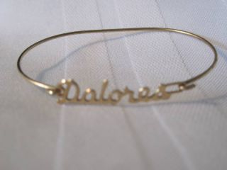 Gold Tone Metal Dolores Wire Name Bracelet Bangle Cuff