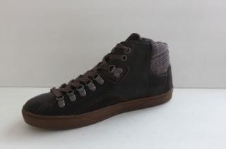 New Guess GM Doman Mens Brown Leather Fashion Shoe Ankle Sneaker Boot