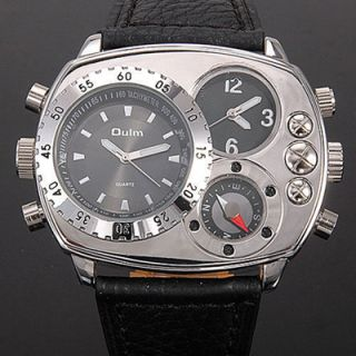 MENS MILITARY WATCH Dual Time Stainless Case Back Black Face NIB