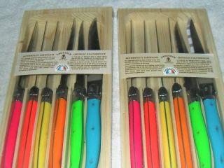Two New Laguiole Jean Dubost Steak Knife Set Multi Color 6 Knife Sets