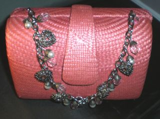 Donna Dixon Pink Straw Purse Bag Charm Bracelet Chain