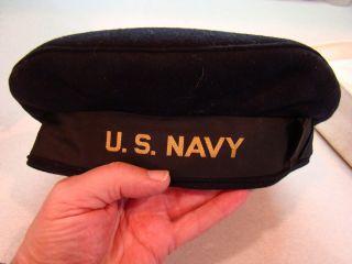 WW2 U S Navy Donald Duck Uniform Hat Sailors Deck Hat TWO HATS