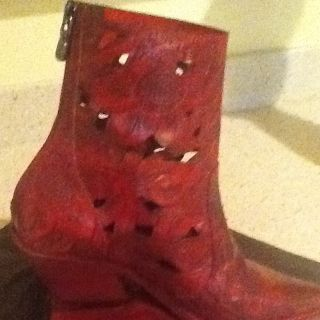 Donald J. Pliner Western Couture Collection Fabulous Red Ankle Boot