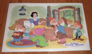 Lot of 4 Walt Disney Productions PlaceMats ~ Pluto, Donald, Snow White