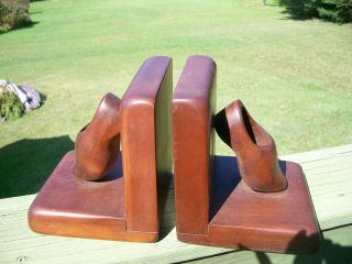 Vintage Solid Wood Wooden Dutch Shoes Clog Book Ends Library Den
