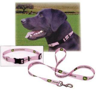 John Deere Adj Dog Collar Leash Pink Medium