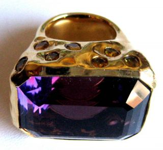 Tony Duquette 18K Gold Amethyst Yellow Sapphire Ring