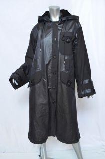 Donna Karan Collection Lux Black Shimmering Hooded Fur Lined Long