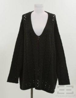 Donna Karan Collection Black Open Knit V Neck Sweater Size M/L