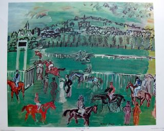 Raoul Dufy 1971 Plate Signed Lithograph The Race Track 1928