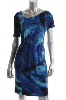 Donna Morgan Blue Printed Matte Jersey Asymmetric Wear to Work Dress 6