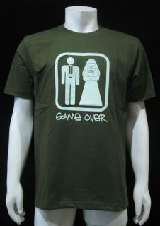 Game Over Funny T Shirt Wedding Mens Olive Sz M New