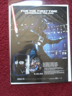 2004 Print Ad Star Wars Trilogy DVD Release Promo Preview Darth Vader