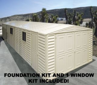 Duramax Sheds 10 5x26 Vinyl Storage Garage Shed Kit w Floor Window