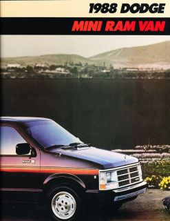 1988 Dodge Mini RAM Van Deluxe Sales Brochure Book