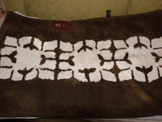 Dwell Studio Brown White Floral Block Accent Rug 22 x 34 NWT